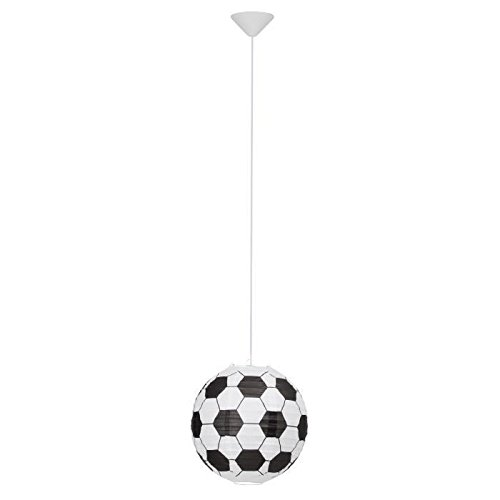 BRILLIANT Suspension papier Soccer motif football diametre 30 cm E27 60W noir et blanc
