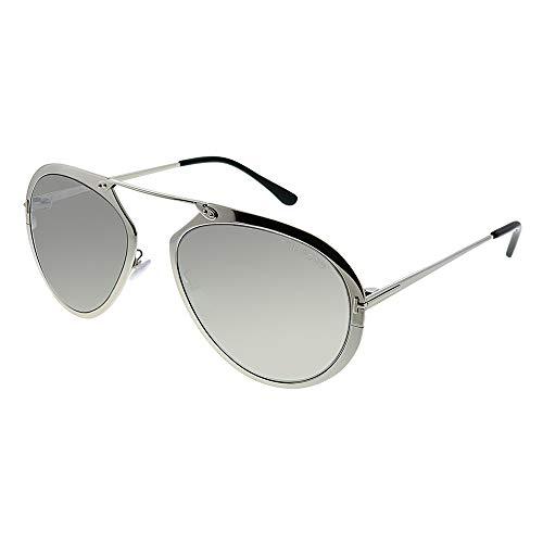 Tom Ford Unisex-Erwachsene FT0508 16C 55 Sonnenbrille, Silber (Palladio Luc/Fumo Specchiato)