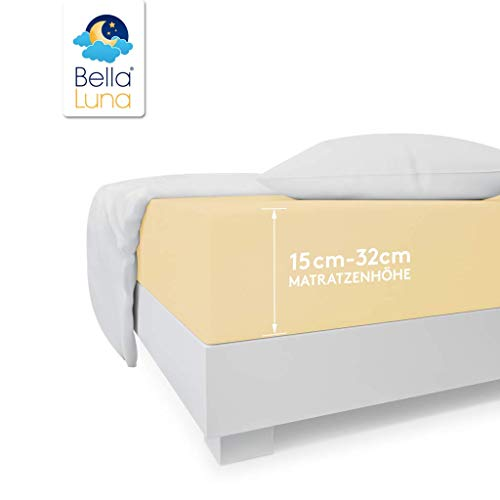 Premium Spannbettlaken mit Gummizug für Wasserbetten Boxspringbetten Übergröße Jersey Matratzenbezug Bettbezug Baumwolle Elastan Wasserbettbezug 180 x 200 cm - 200 x 220 cm Beige Creme