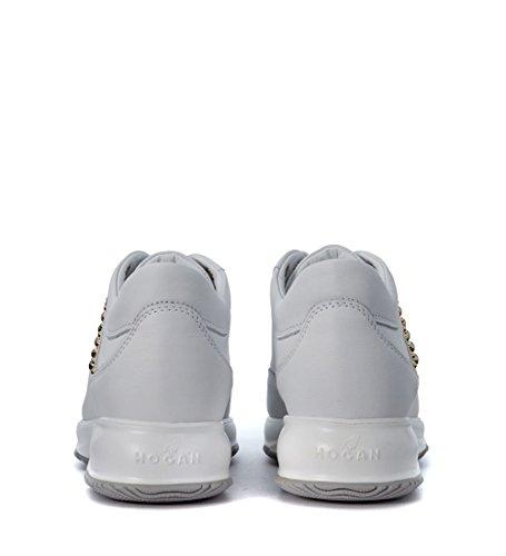 Sneaker Hogan Interactive in pelle bianca con borchie Bianco