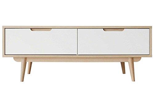 CAGUSTO-Wohnzimmertisch-Couchtisch-FLEMMA-Lieferung-inkl-Montage-120-x-60-x45-Eiche-Furnier-hell-Fronten-wei-matt-120-x-60-x-45-2-Schubladen-skandinavisches-mid-century-Design-1a-Qualitt