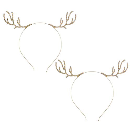 Lurrose 2 stücke Weihnachten Geweih Stirnbänder Legierung Kristall Haarband für Frauen Mädchen ()