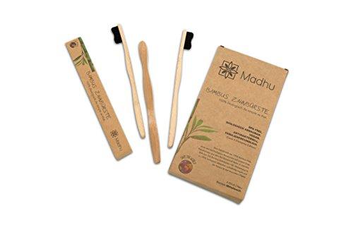 Madhu Bambus Zahnbürste im 4er-Set – vegan und biologisch abbaubare Holz Zahnbürste mit Naturborsten - 3