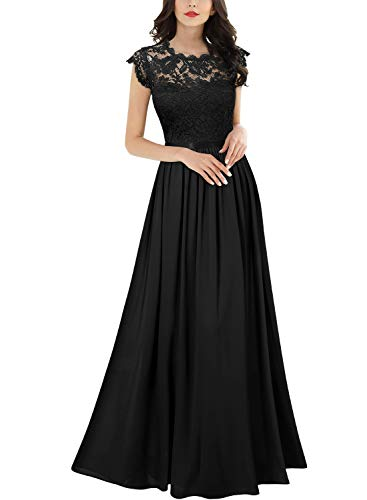 Miusol Damen Elegant Ärmellos Rundhals Vintage Spitzenkleid Hochzeit Chiffon Faltenrock Langes Kleid Schwarz Gr.2XL