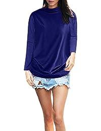 TOPKEAL Sudadera Fina de Manga Larga y Color Liso con Cuello Alto para Mujer Blusa Casual de Algodón de Tallas Grande