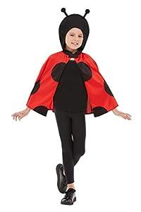 Smiffys 41162ML Ladybird - Capa con capucha, unisex, para niños, color negro y rojo, talla M a L, edad de 8 a 12 años