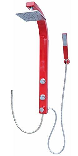 Duschsäule Duschsystem Duschpaneel Brausepaneel Komplettdusche Rot große Regendusche mit 2 Massagedüsen, aus hochwertigem Kunststoff Handbrause Duschkopf Duscharmatur Anschluss an Brauseschlauch