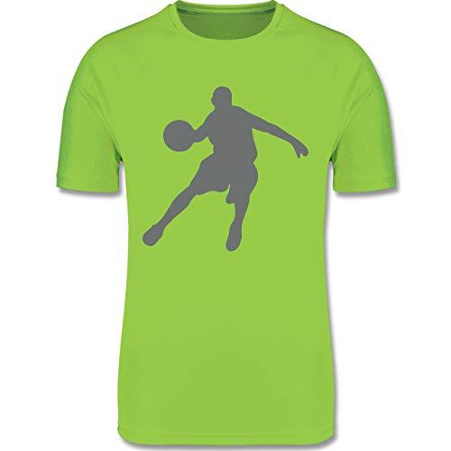 Sport Kind - Basketballspieler - 164 (14-15 Jahre) - Limonengrün - F350K - atmungsaktives Laufshirt/Funktionsshirt für Mädchen und Jungen