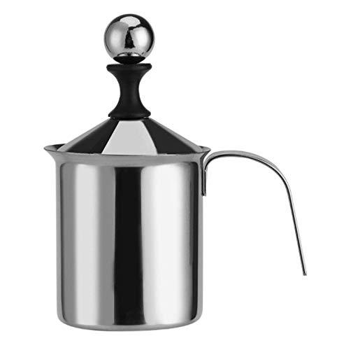 Yosoo 400 ml/800 ml Manueller Milchaufschäumer aus Edelstahl für Cappucino, Latte Macchiato 800ML silber