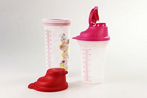 TUPPERWARE Backen Mix-Fix Shaker 600 ml rot + Mix-Fix Shaker 350 ml pink 16896