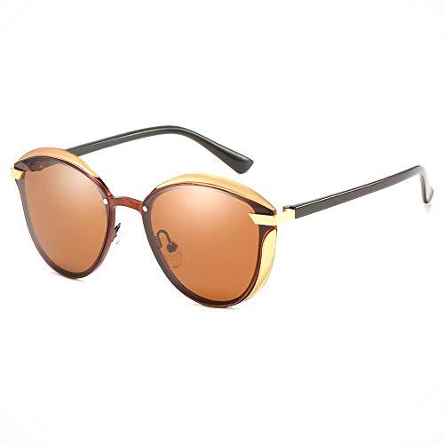 Strand Outdoor Reisen Radfahren Angeln Sonnenbrille UV400 UV Polarisiert Ultradünner Rahmen Gold Herren/Damen Fahren Blackout Retro Sonnenbrille Brille (Farbe : Brown)