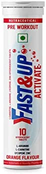 Fast&Up Activate Pre-Workout Supplement - 1500 Mg Arginine without Caffeine - Increase stamina and power -
