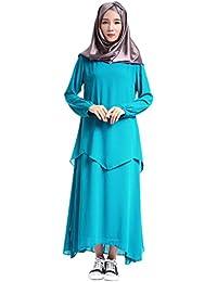 Gyratedream Robes Femme Solide Couleur Faux Deux Pièces Abaya Dress Abaya  Musulmane Dubai Robe Maxi Décontractée 3f96d196ca1