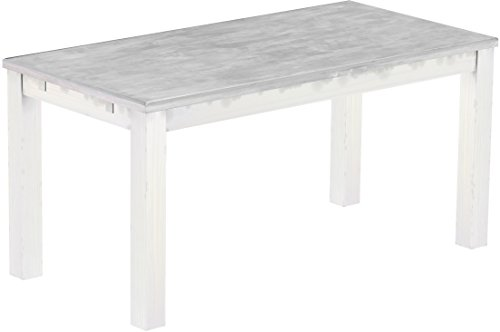 Brasilmoebel Esstisch Rio Classico 160 x 80 cm - Pinie Massivholz Farbton Beton - Weiß - in 27 Größen und 50 Farben - über 1000 Varianten -...
