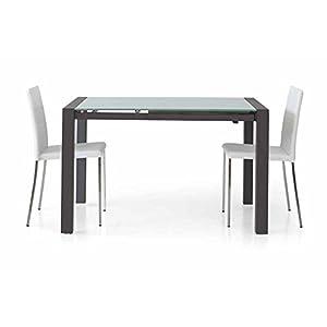 Table rectangulaire verre acier noir avec 1allonge de 60cm