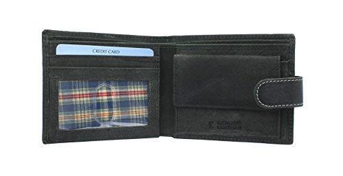 Sirocco Kollektion (Floren SIROCCO Kollektion Leder Bi-Fold Wallet 4101 Schwarz)