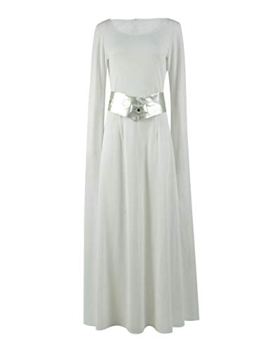 Star Wars Prinzessin Leia Cosplay Kostüm Halloween Party Damen Kleid (3XL, Weiß)