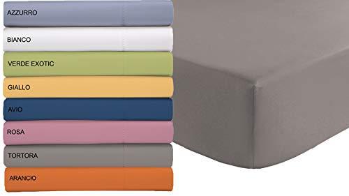 Tata home lenzuolo sotto in microfibra con angoli ed elastico misura matrimoniale cm 180x200 altezza materasso cm 24 colore tortora