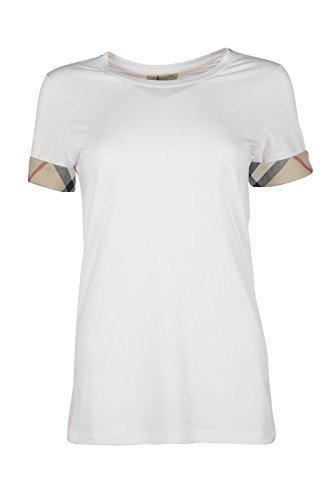 Burberry t-shirt maglia maniche corte girocollo donna nuova bianco EU L (UK 14) YSM8236710000