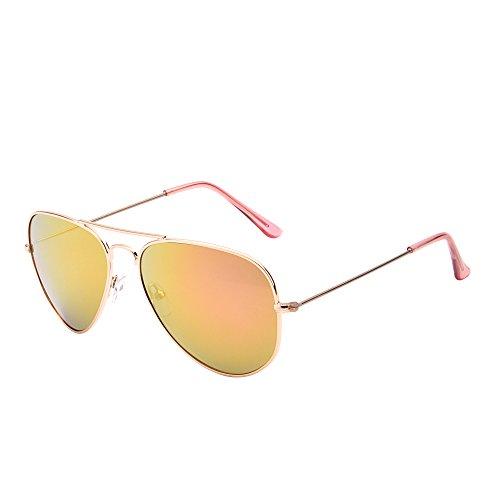 JM Retro Spiegel Flieger Sonnenbrille Blitz Getönt Linse Brille für Damen Herren UV400(Gold/Rosa)