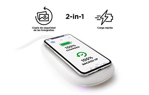 SanDisk iXpand Cargador inalámbrico rápido de 10W con 128GB de Capacidad para Copia de Seguridad de fotografías en teléfonos compatibles con Qi