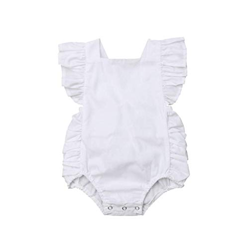 byklamotten Kleiderset,Sommer Neugeborenes Jungen Mädchen Rüschen Feste Strampler Overall Kleidung+Bekleidunsets Outfits ()