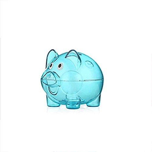 meisijia Transparente Kunststoff Geld Sparen Box Fall Münzen Sparschwein Cartoon Schwein geformt blau S