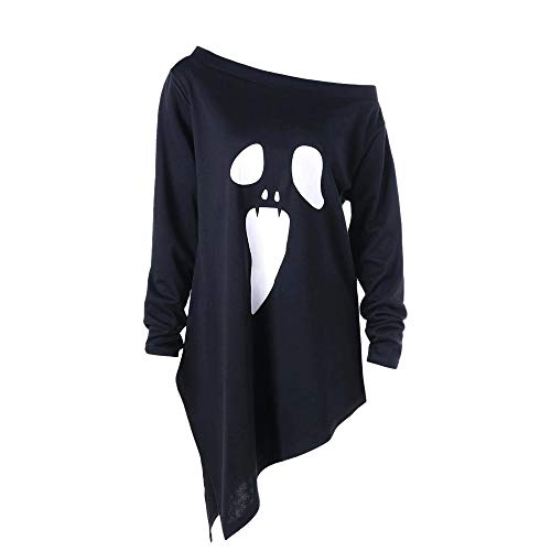 MIRRAY Damen Langarm Ghost Print Halloween Sweatshirt Pullover Tops Bluse
