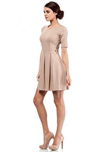 MOE Außergewöhnliches Kleid mit Kellerfalten glockig in Trendfarben Cappuccino