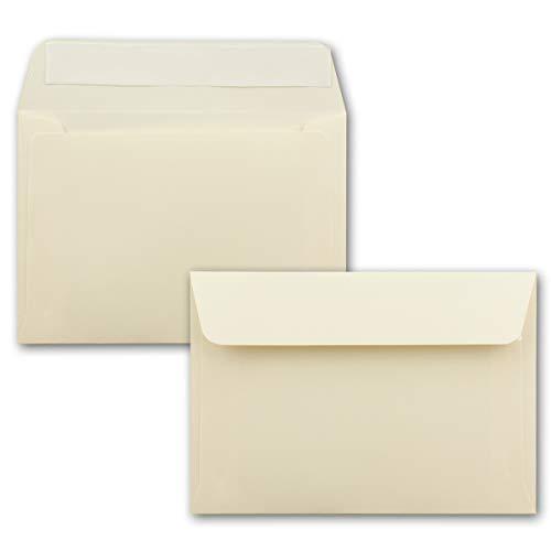 75x Briefumschläge Vanille-Creme DIN C6 Format 114 x 162 mm - Haftklebung - Kuverts ohne Fenster - Weihnachten, Grußkarten & Einladungen - Für A6 & A4 Papier