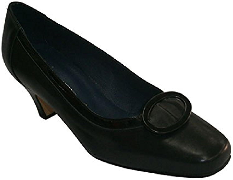 Zapato tacón medio con adorno cuadrado Pomares Vazquez en negro