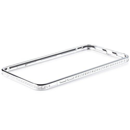 iCues Schutzhülle kompatibel mit Apple iPhone 6/6S + PLUS (5.5 Zoll) | Alu Strass Bumper Silber | [Display Schutzfolie Inklusive] Strass Glitzer Aluminium Metall Metallic Hülle Cover Schutz (Case Iphone 6 Bumper Plus Metall)
