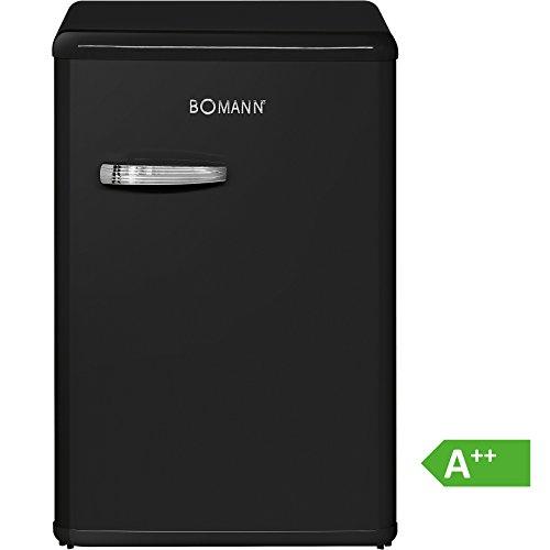 Bomann VSR 352 Vollraumkühlschrank Retro-Style, EEK A++, 88 kWh/Jahr, 130 L, Chromgriff im Retro-Design, Abtauautomatik, schwarz - Transparent Mini-kühlschrank