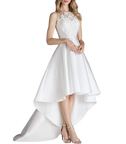 Damen Kleid Hi-lo Festliche Kleider Brautjungfer Hochzeit Taft Elegant Langes Abendkleider (Weißes High Brautkleid Low)
