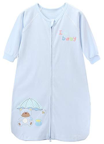 Baumwolle Pyjama-böden (Chilsuessy Baby Sommer Schlafsack Unwattiert Babyschlafsack 1 Tog Sommerschlafsack aus 100% Baumwolle Kinder Pyjama Schlafanzug, Blau, M/Baby Hoehe 75-85cm)