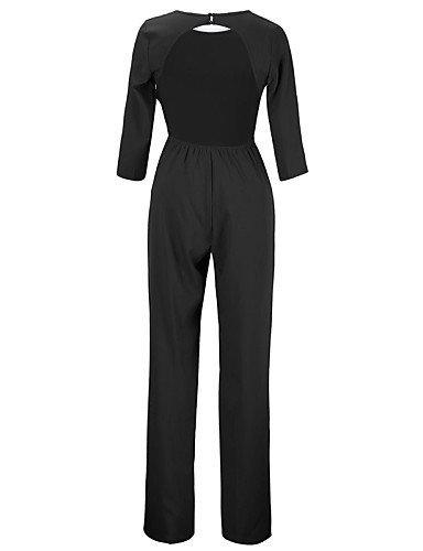 GSP-Combinaisons Aux femmes Manches ¾ Sexy / Travail Polyester Moyen Micro-élastique black-l