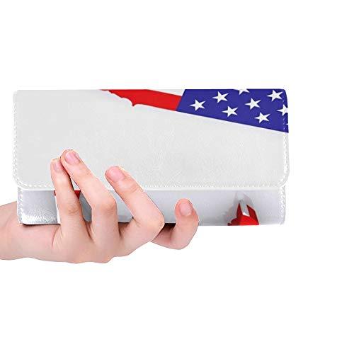 Einzigartige Custom 3 D Karte USA Frauen Trifold Brieftasche Lange Geldbörse Kreditkarteninhaber Fall Handtasche -
