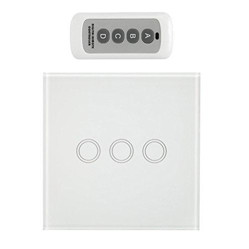 Homyl 433Mhz Touch Switch Panel Funk-Schalter Taster mit Fernbedienung - Weiß, 3 Gang -