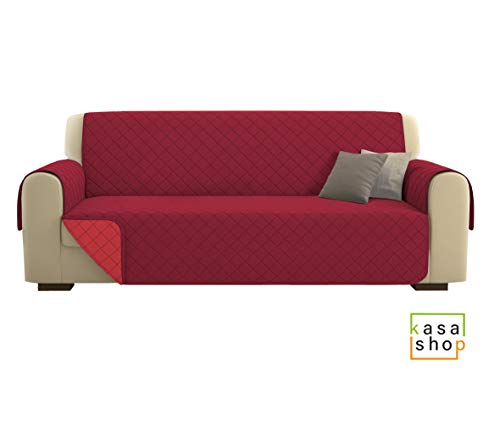 Kasashop copridivano/salvadivano deluxe imbottito, reversibile doubleface copertura divano (bordeaux, divano 4 posti)