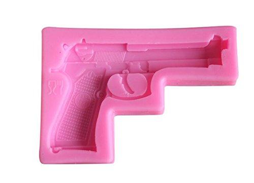 Rubinson-store Gun Pistole 3D Weiche Silikon Form Clay Gum Kuchen dekorieren Fondant Zucker Craft Formen Candy Schokolade Form (Gun Form Schokolade)