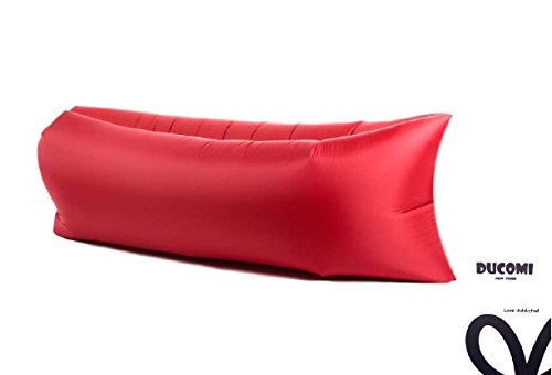 Ducomi® AirPuffy - Colchón Autoinflable Portable e Impermeable Cómodas Bolsa Journey - Sillón Sofás Ideal para la Playa, Camping y Relax - Dimensiones: 260 x 70 cm (Red)