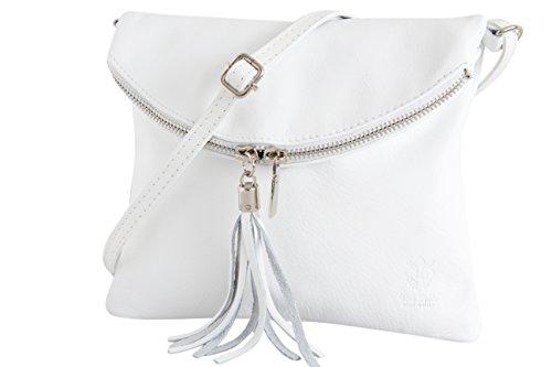 AMBRA Moda Italienische Ledertasche Schultertasche Crossover Umhängetasche Nappaleder Damen Kleine Tasche NL610 (Weiß) - Schicke Kleine Crossover