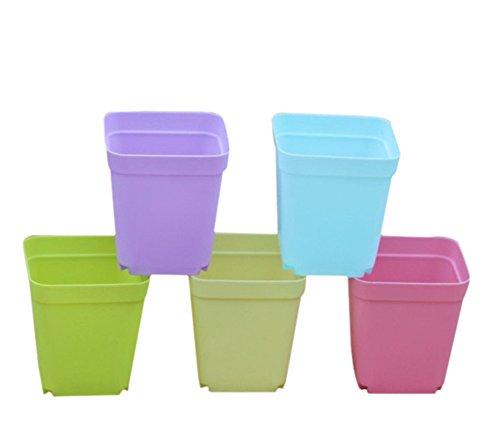 Vi.yo - 14 macetas cuadradas de plástico para jardín o guardería, decoración del hogar, color caramelo