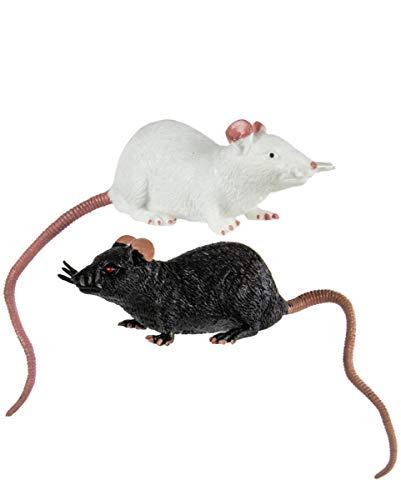 Horror-Shop Dehnbare Ratte als Spielzeug 23 cm | Schwarz / Weiß
