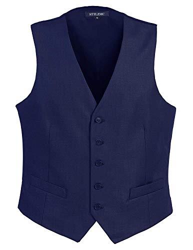 STTLZMC Panciotto Gilet Uomo Slim Fit Casual Moda Smanicato Matrimonio Corpetto Smoking Waistcoat(Niente Camicia),Blu 2,Large