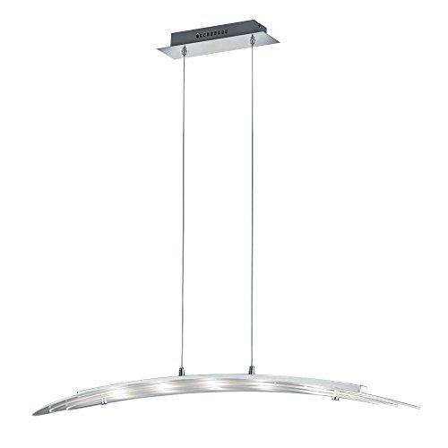 Trio Leuchten LED Pendelleuchte in Aluminium, Glas satiniert klar inklusive 5 x 5 W, Breite 100 cm 329510505