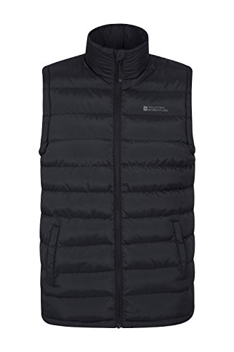Mountain Warehouse Seasons Gepolsterte Weste - Wasserbeständig, warm, leichte Jacke mit Zwei Fronttaschen, leicht zu verstauender Mantel - Ideal für Reisen im Winter Schwarz Medium