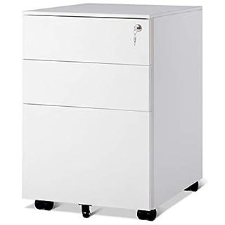 COSTWAY Rollcontainer mit 3 Schubladen, Abschließbarer Büroschrank, Aktenschrank Büromöbel Bürocontainer, 39x48x60cm, Farbwahl (Weiß)