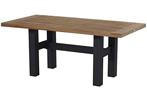Hartman Yasmani Esstisch, Carbon Black/Vintage Brown aus Aluminium & Teak, 180x95cm, Gartentisch, Gartenmöbel Tisch - Teak-top-esstisch