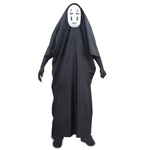 YKJ Anime Film temperamentvoll entfernt kein Gesicht Mann Cosplay Kostüm voller Satz Halloween Kostüm Robe Handschuhe schwarz lila Maske,Clothing Full Set-XXL